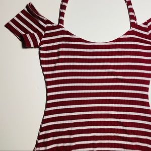 White & Red Striped Off-the-Shoulder Bodysuit